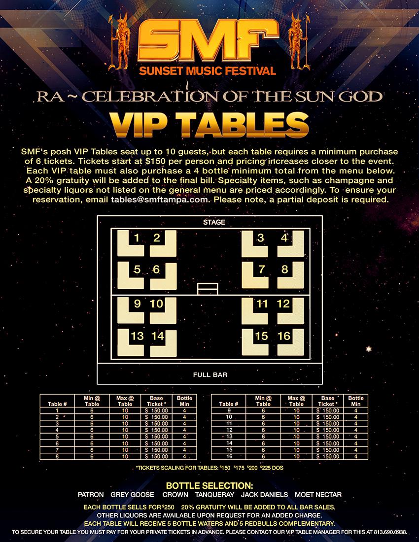 Sunset Music Festival 2013 VIP Tables